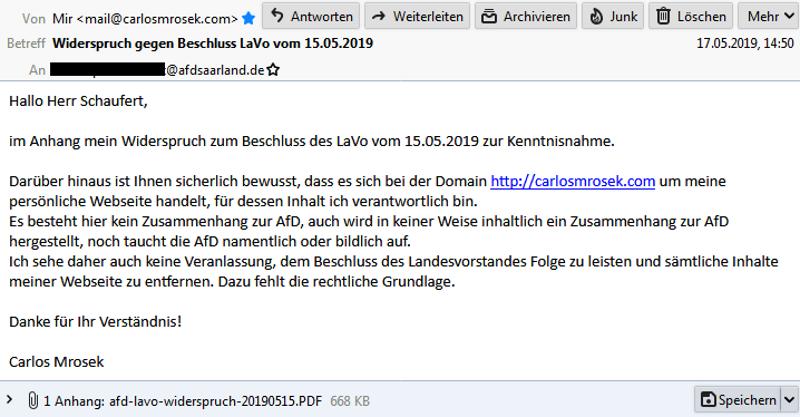 """afd lavo saar widerspruch 2019 mail - AfD Bundesvorstand erklärt """"System Dörr"""" für """"Demokratie-tauglich"""" - echt jetzt?"""
