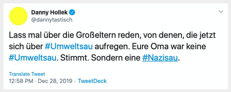 danny hollek twitter wdr umweltsau nazisau - Primitivistischer Jahresrückblick 2019 - Teil 1 - Zeitungen und Fernsehen