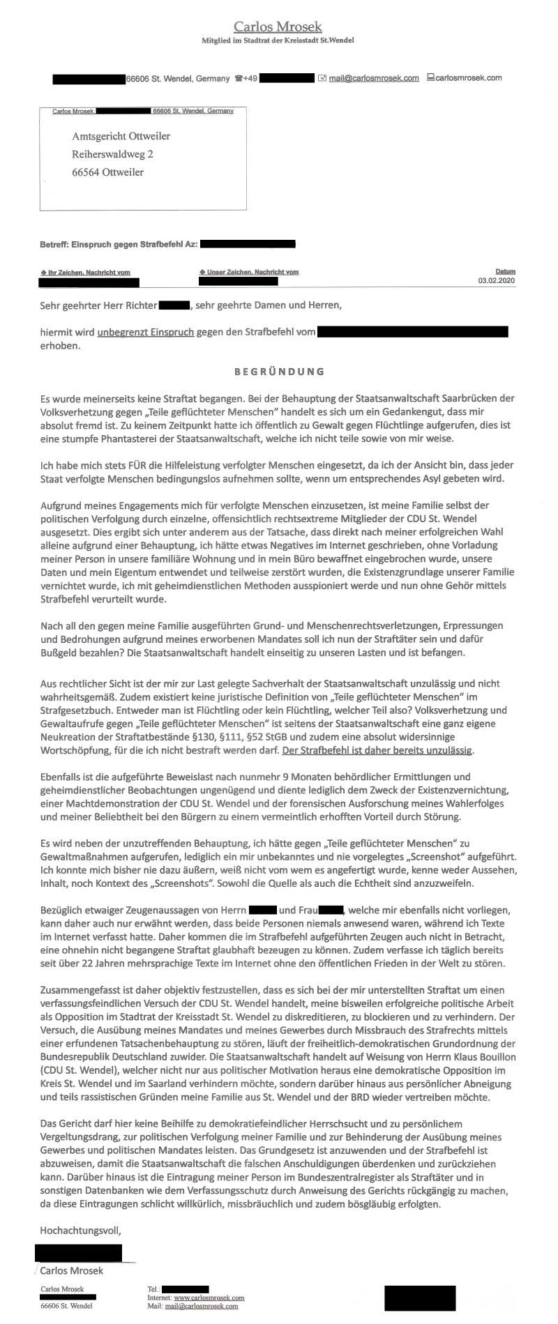 carlosmrosek.com 20200203 amtsgericht otw anonymisiert - Verfassungsfeindliche CDU St. Wendel - Ist das noch Demokratie oder kann das weg?